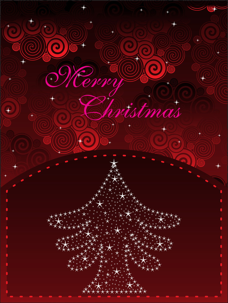 Spiral Pattern Background With Xmas Tree
