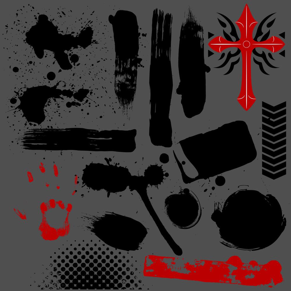 Splash And Stains Vector Grunge Elements