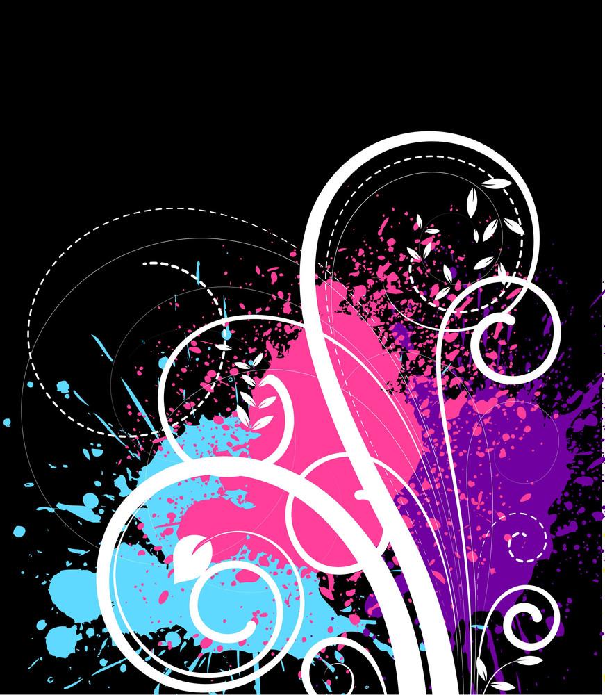 Splash And Swirls - Vector Background