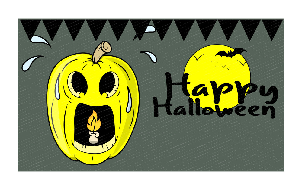 Spooky Halloween Pumpkin Vector Banner
