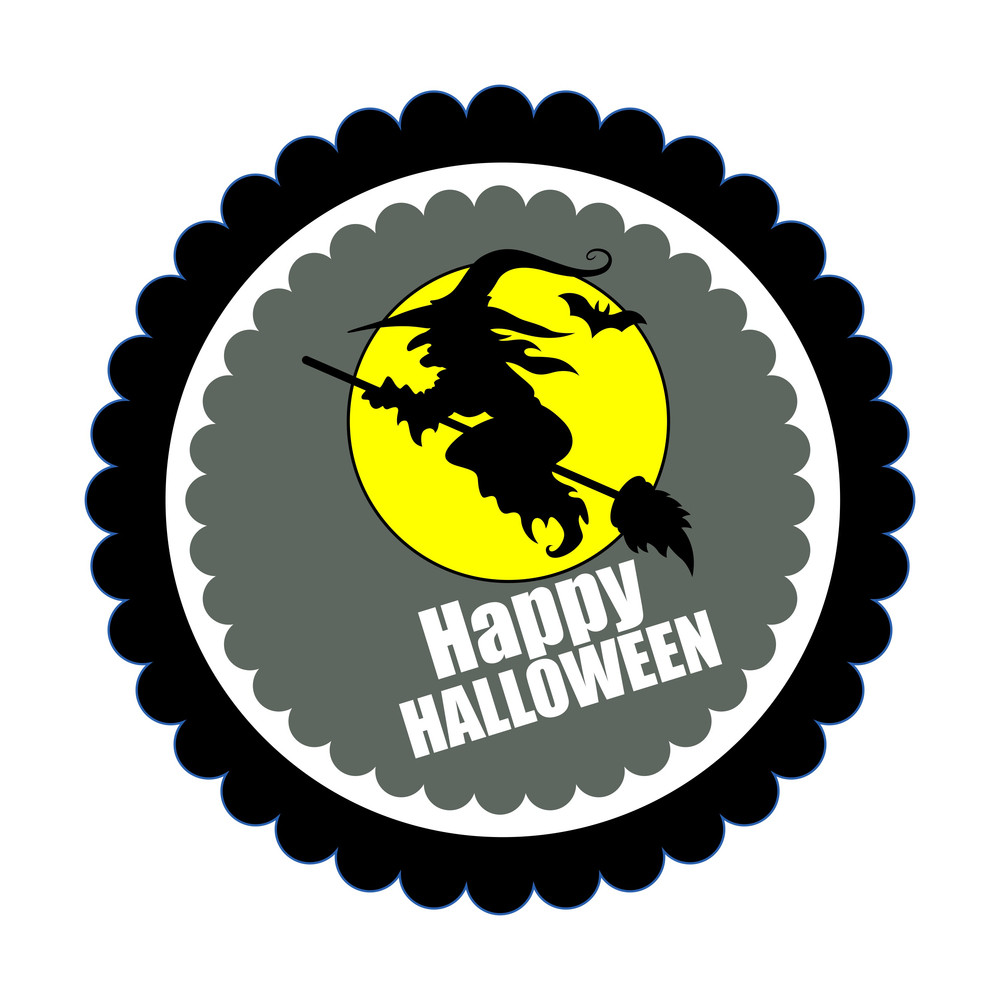 Spooky Witch Flying Shape Halloween Banner
