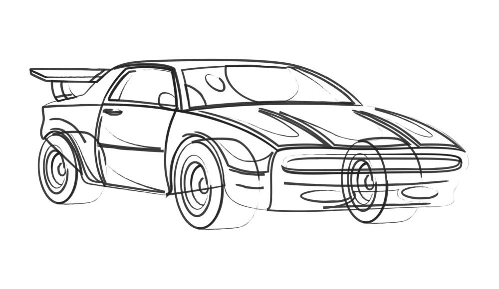 Sports Car Model Drawing