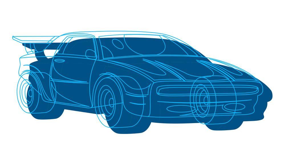 Sports Car Vector Drawing