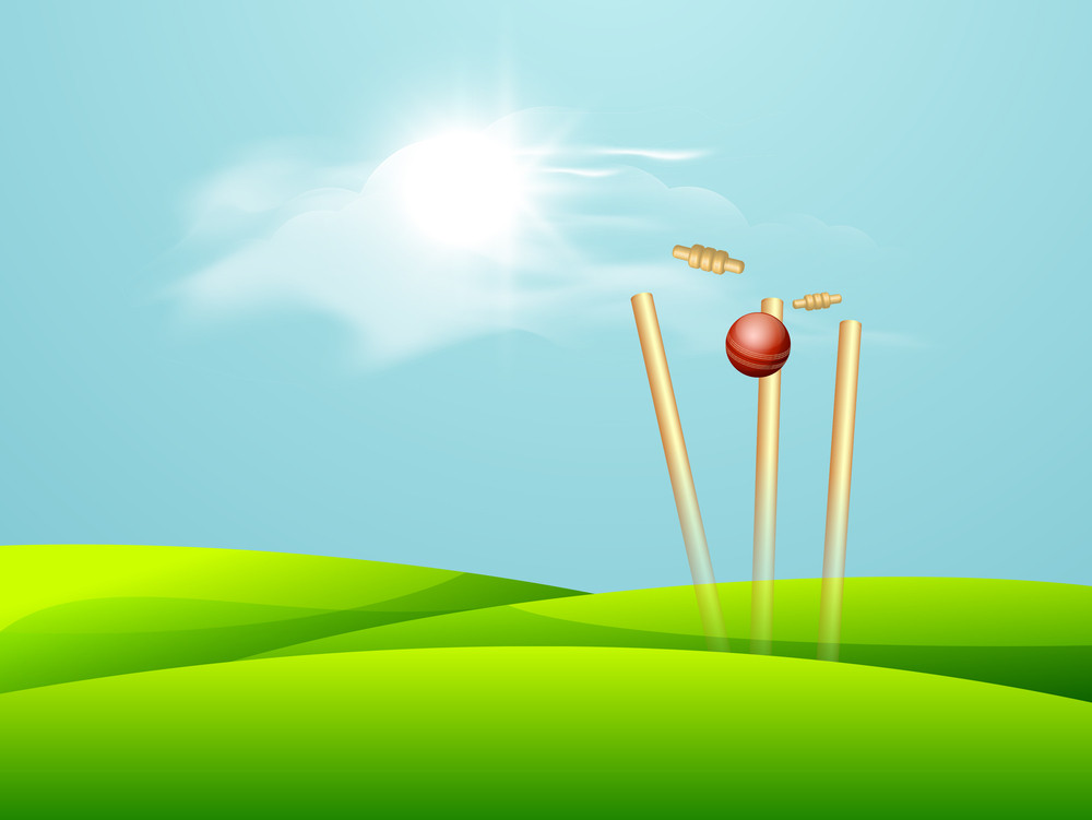 Sports Concept With Ball On Wickets On Sunny Nature Background.