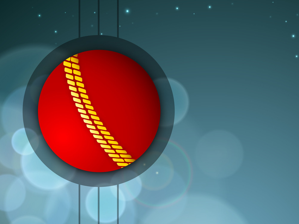 Sports Concept With Cricket Ball On Shiny Blue Background..