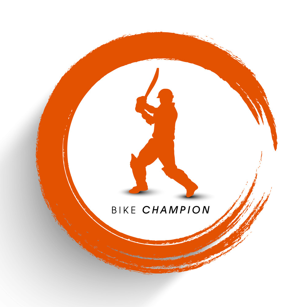 Sports Concept With Cricket Player In Batting Action On Stylish Orange Background.