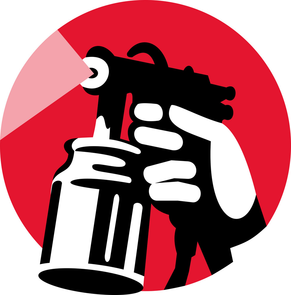 Spray Gun With Hand Holding Icon