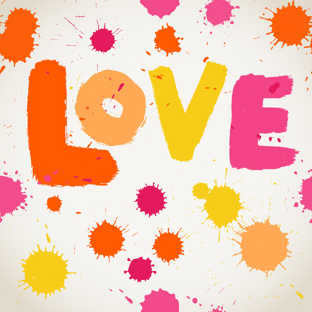 Spray Paint Watercolor Vector Seamless Pattern With Love Letters. Valentine's Day Background. You Can Use It Separately.