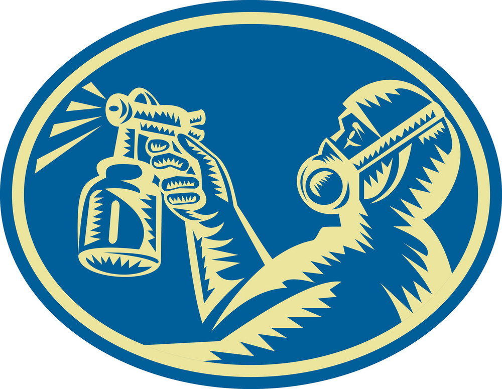 Spray Painter Spraying Gun Retro