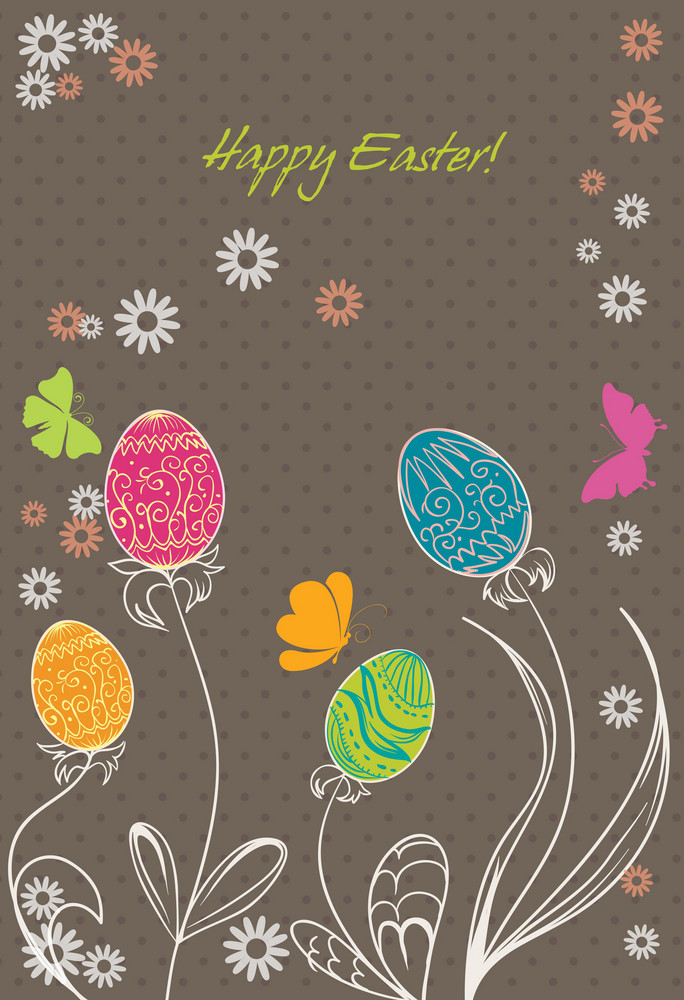 Spring Background With Eggs Vector Illustration