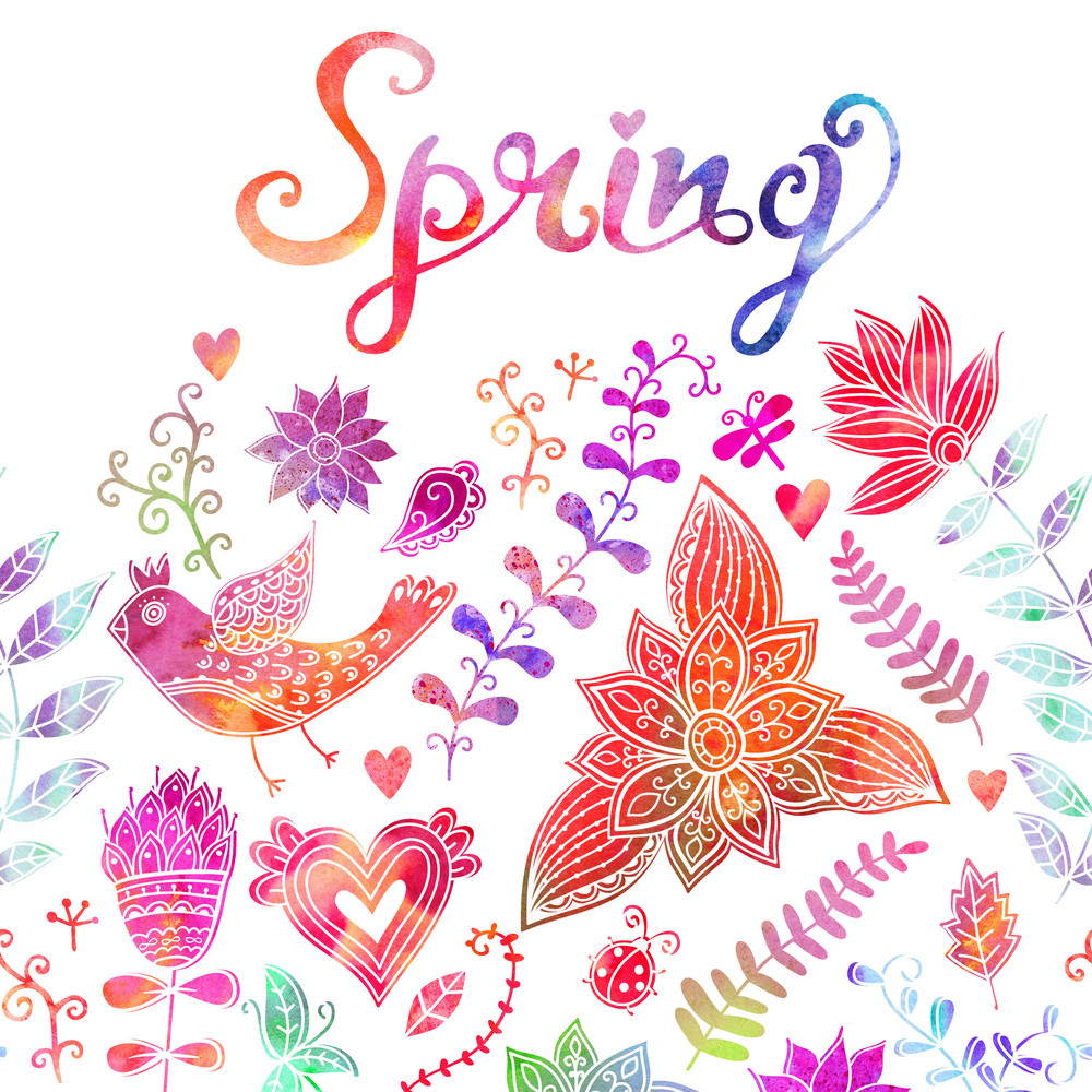 Spring Coming Card. Floral Background