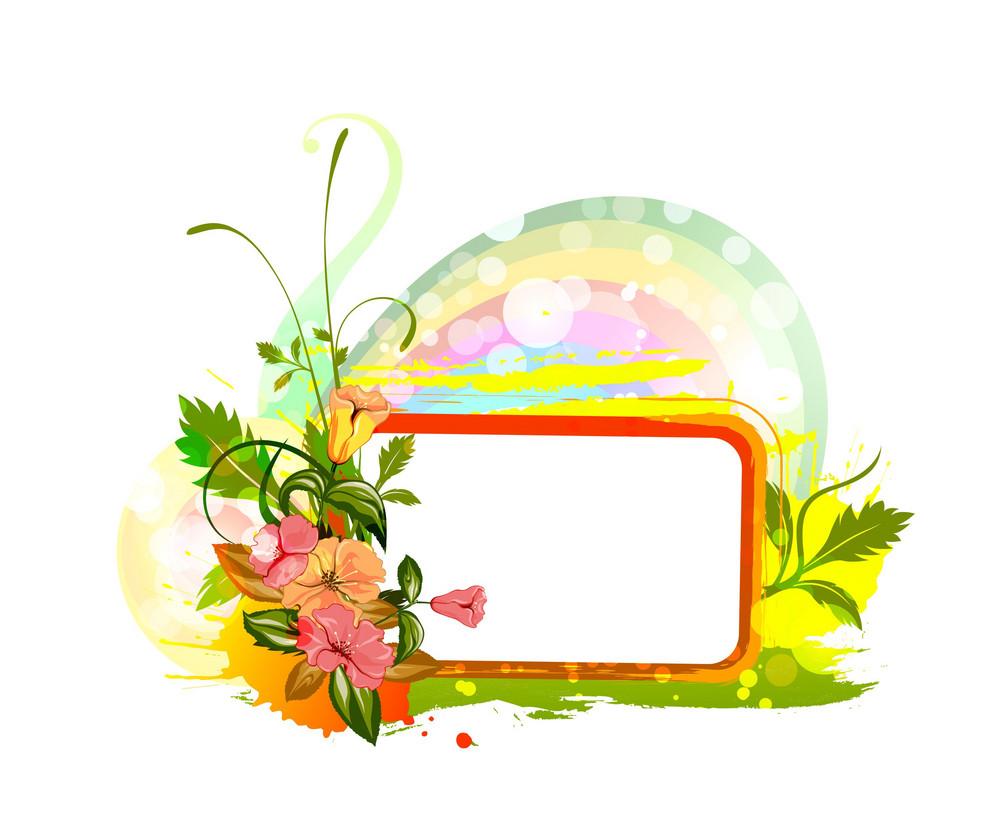 Spring Floral Frame Vector Illustration