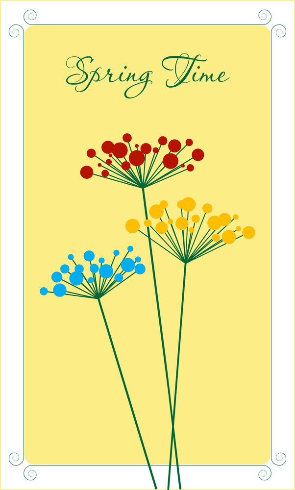 Spring Flowers Card. Vector.