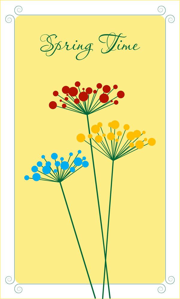 Spring Flowers Card. Vector.