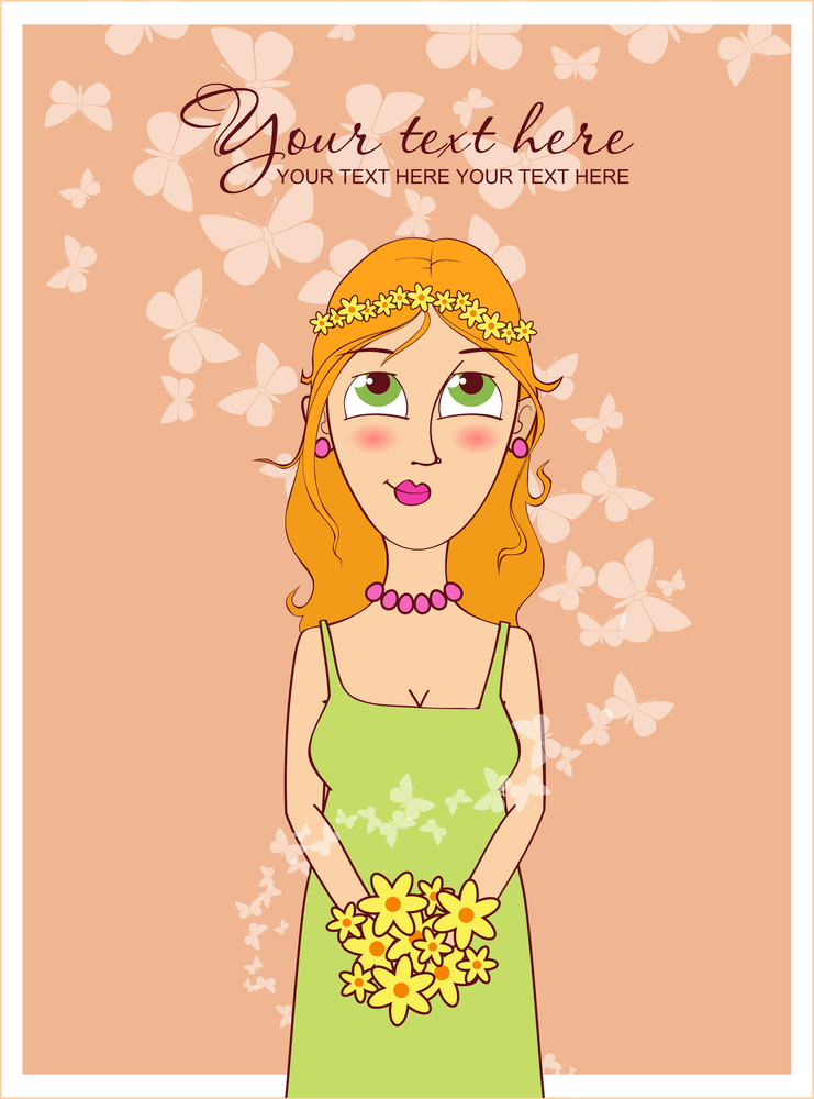 Spring Girl With Butterfly. Vector Illustration.
