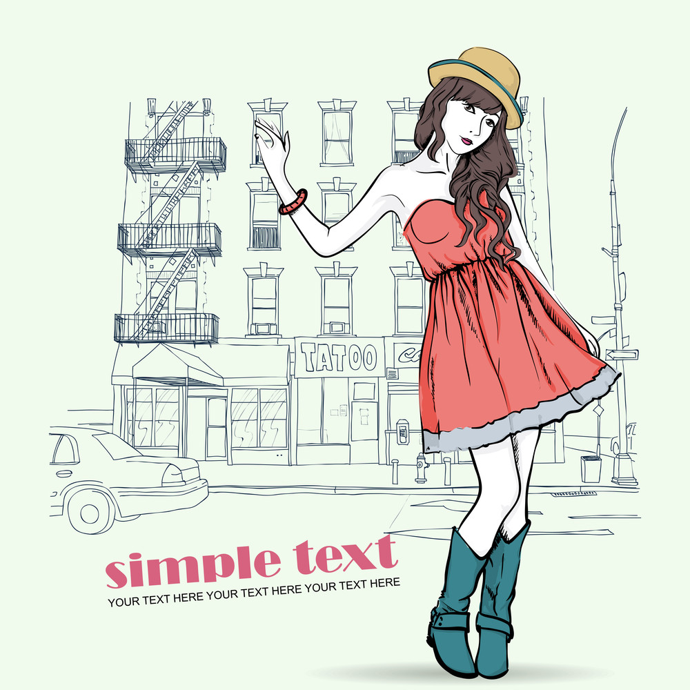 Spring Girl With Hat On A Street Cafe Background. Vector Illustration