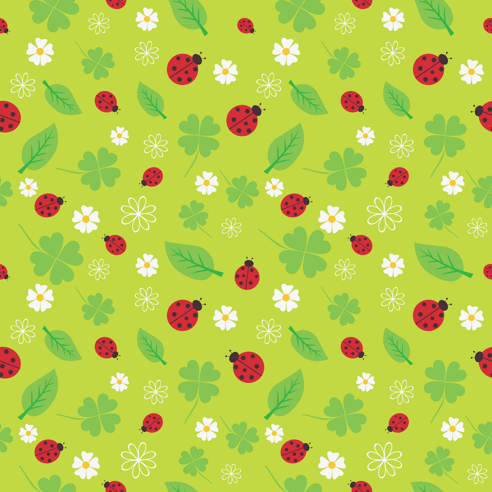 Spring Seamless Pattern With Flowers And Ladybirds.