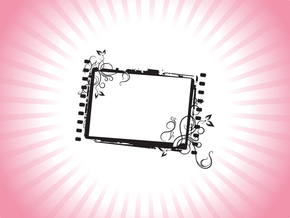 Squire Frame With Creative Elements On Red Background