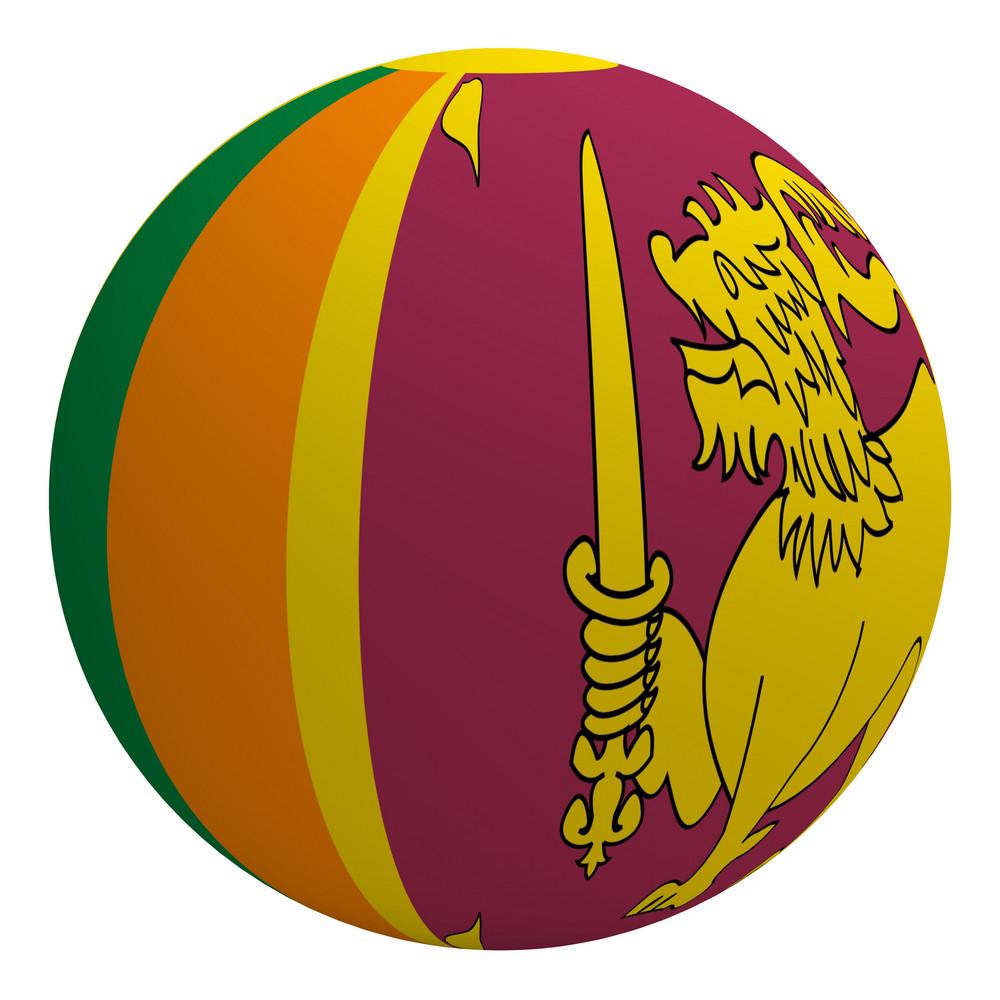 Sri Lanka Flag On The Ball Isolated On White.