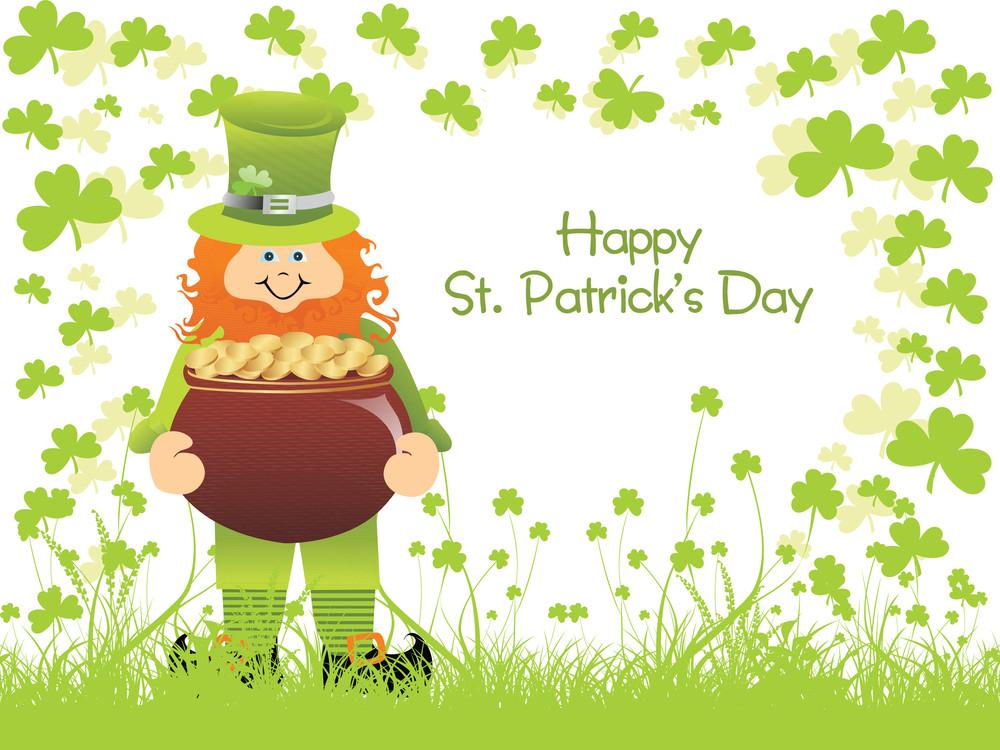 St. Patricks Background With Leprechaun