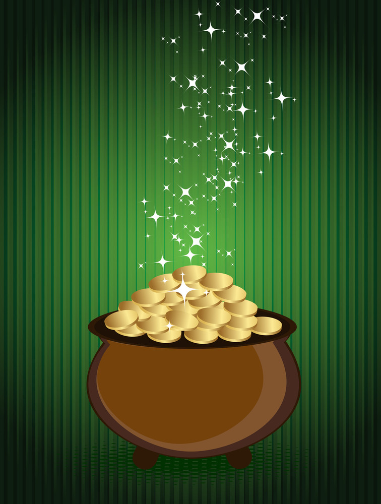 St. Patrick's Day Background With Gold Coins Earthenware.