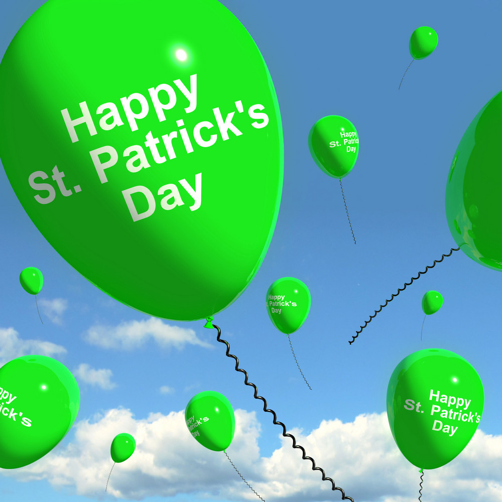 St Patrick's Day Balloons Showing Irish Party Celebration Or Festival
