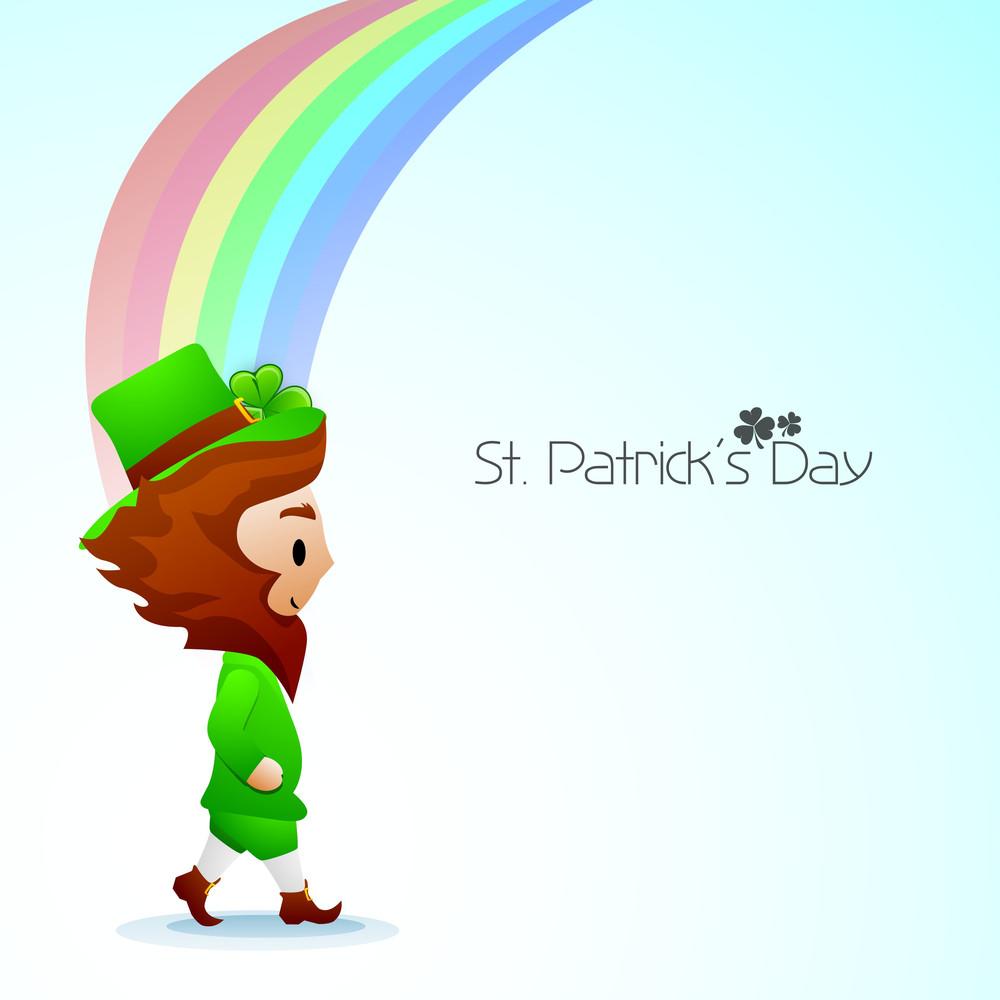 St. Patricks Day Concept With Leprechaun On Beautiful Rainbow Background.