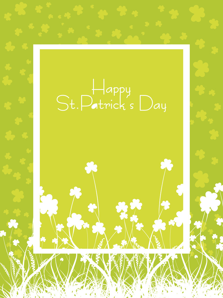 St. Patricks Day Vector Frame With Clover