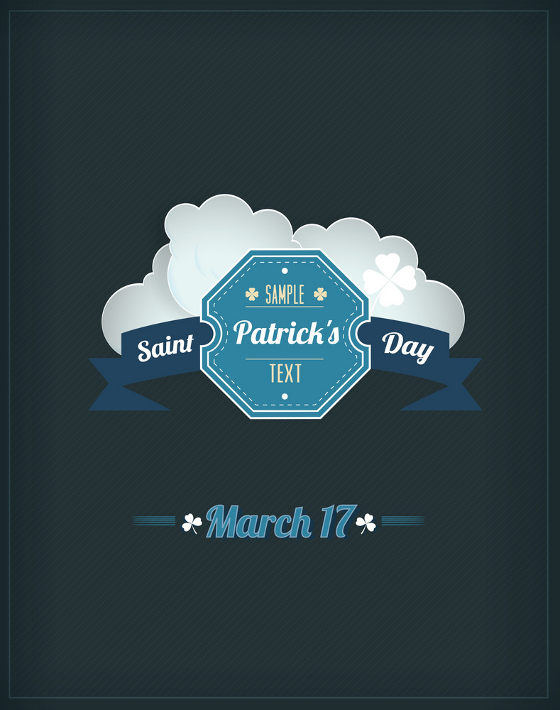 St. Patrick's Day Vector Illustration With Badge And Clouds
