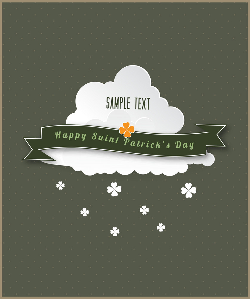 St. Patrick's Day Vector Illustration With Clouds And Ribbon
