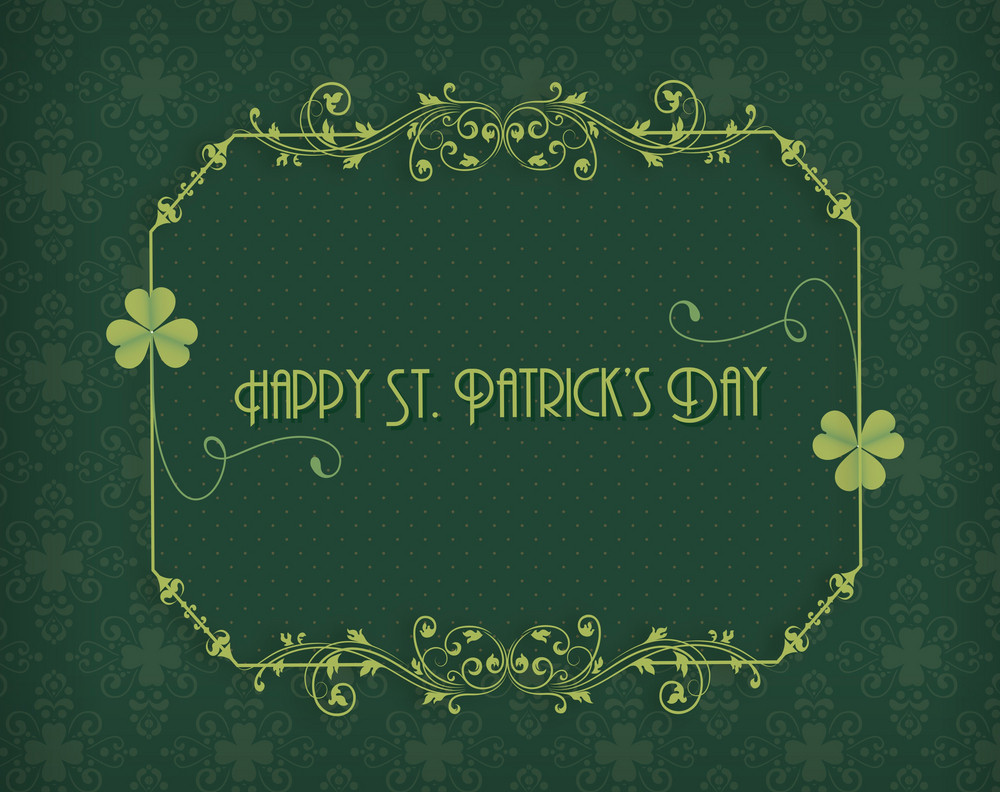 St. Patrick's Day Vector Illustration With Clover And Floral Frame
