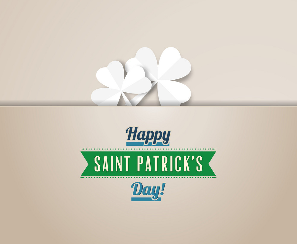 St. Patrick's Day Vector Illustration With Clover And Ribbon