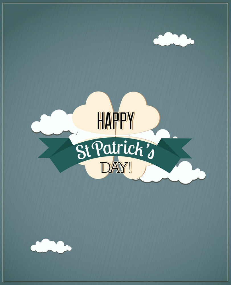 St. Patrick's Day Vector Illustration With Clover, Clouds And Ribbon