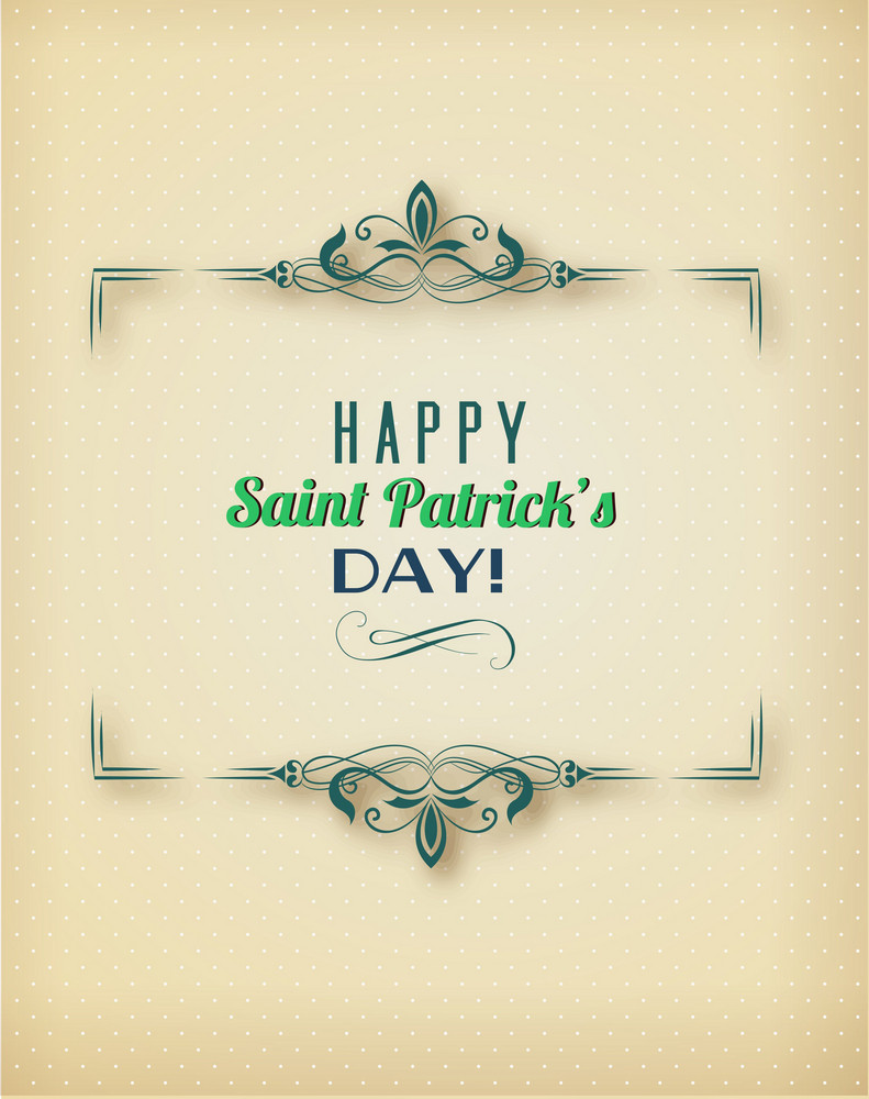 St. Patrick's Day Vector Illustration With Floral Frame