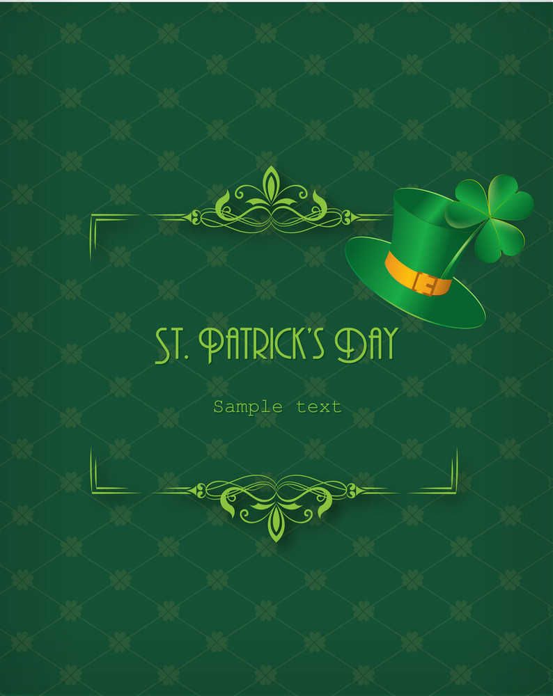 St. Patrick's Day Vector Illustration With Hat And Floral Frame