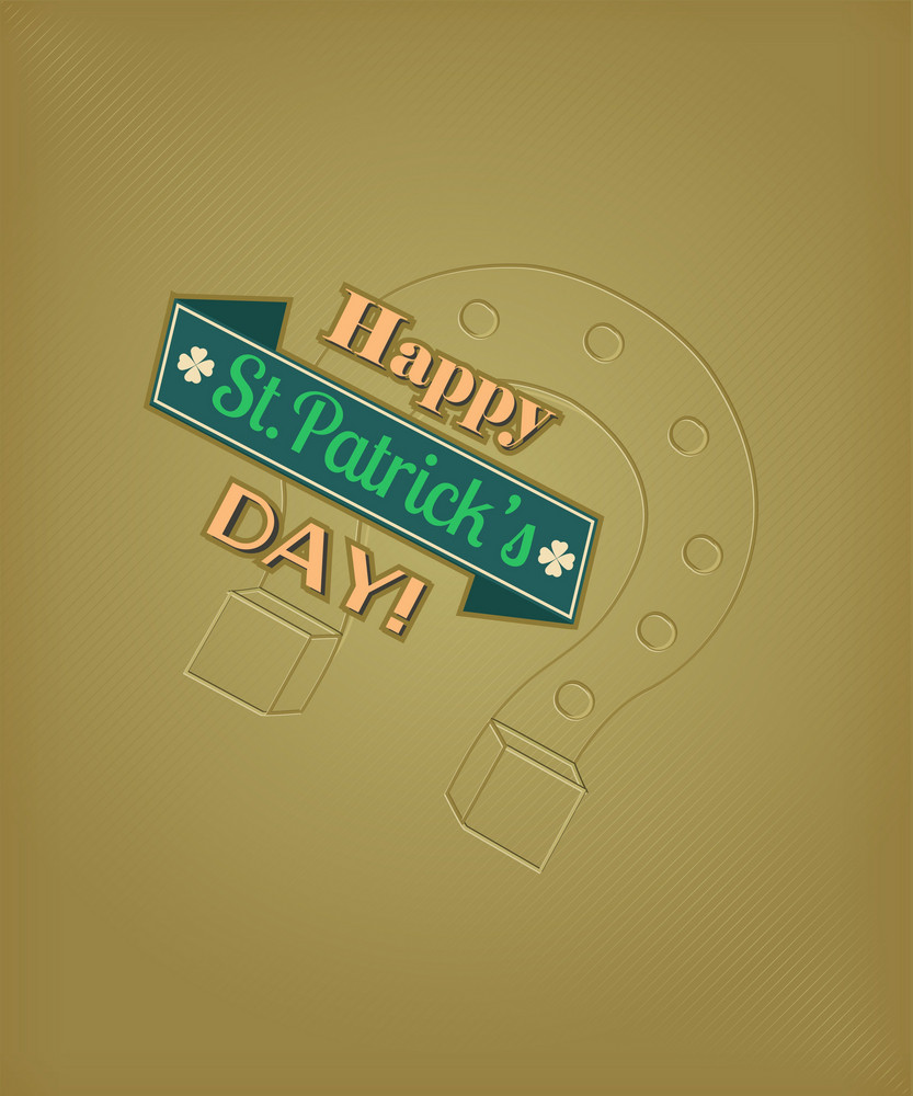 St. Patrick's Day Vector Illustration With Horse Shoes