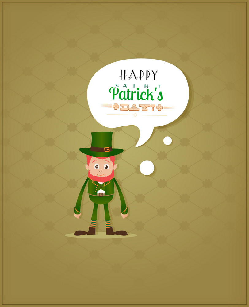 St. Patrick's Day Vector Illustration With Leprechaun And Clover