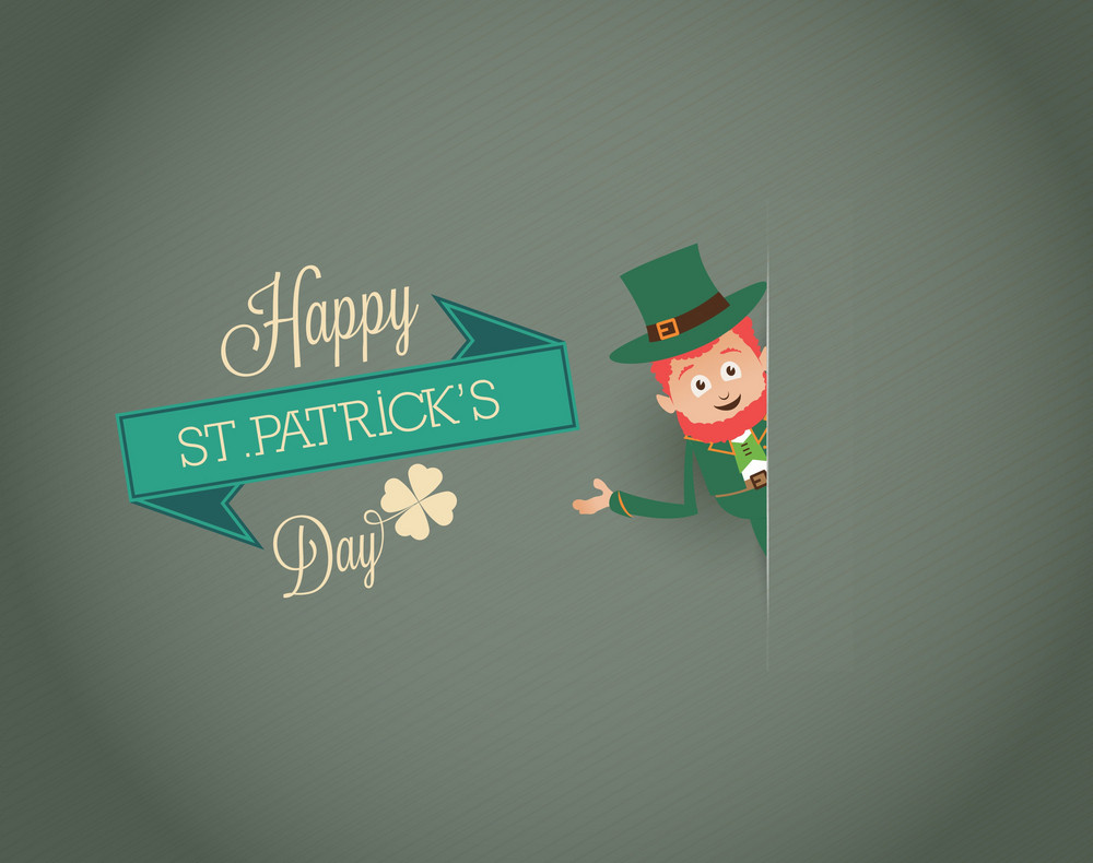 St. Patrick's Day Vector Illustration With Leprechaun And Ribbon