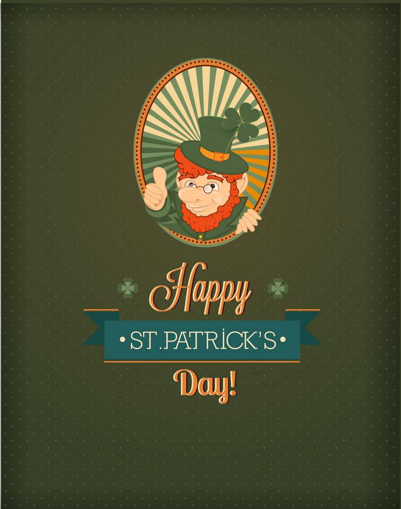 St. Patrick's Day Vector Illustration With Leprechaun