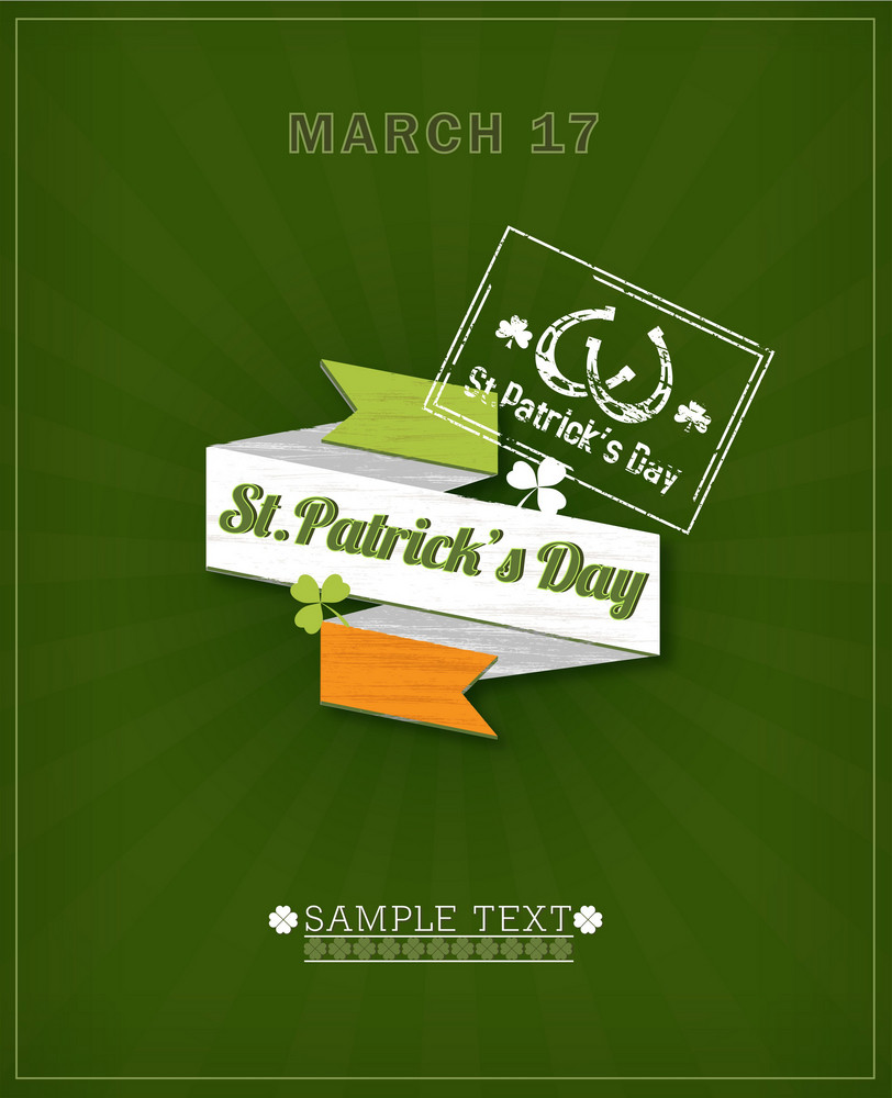 St. Patrick's Day Vector Illustration With Origami Ribbon, Clover And Passport Stamp