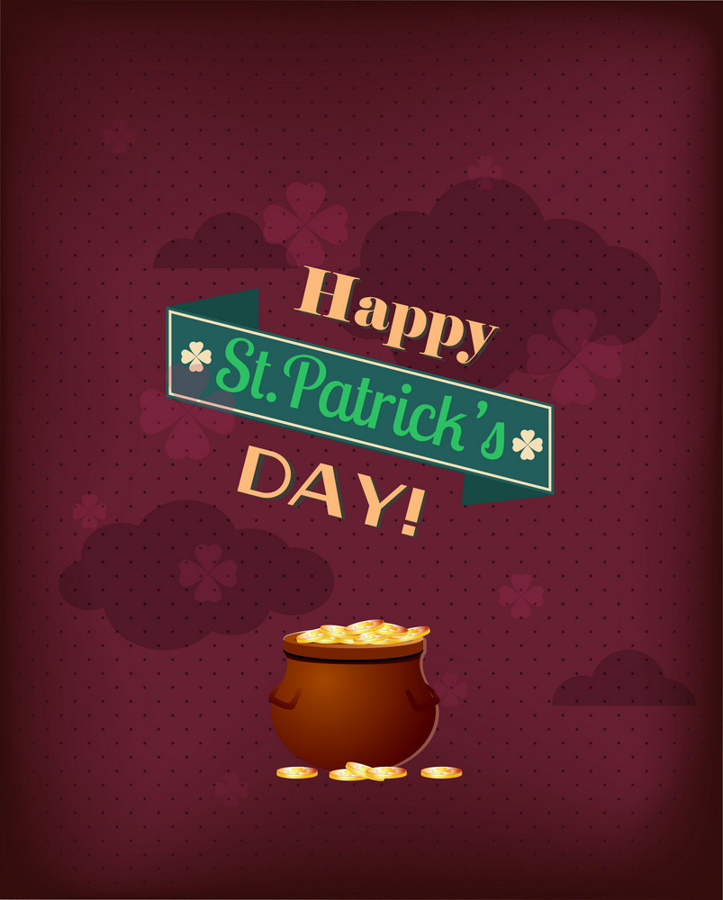 St. Patrick's Day Vector Illustration With Pot And Ribbon
