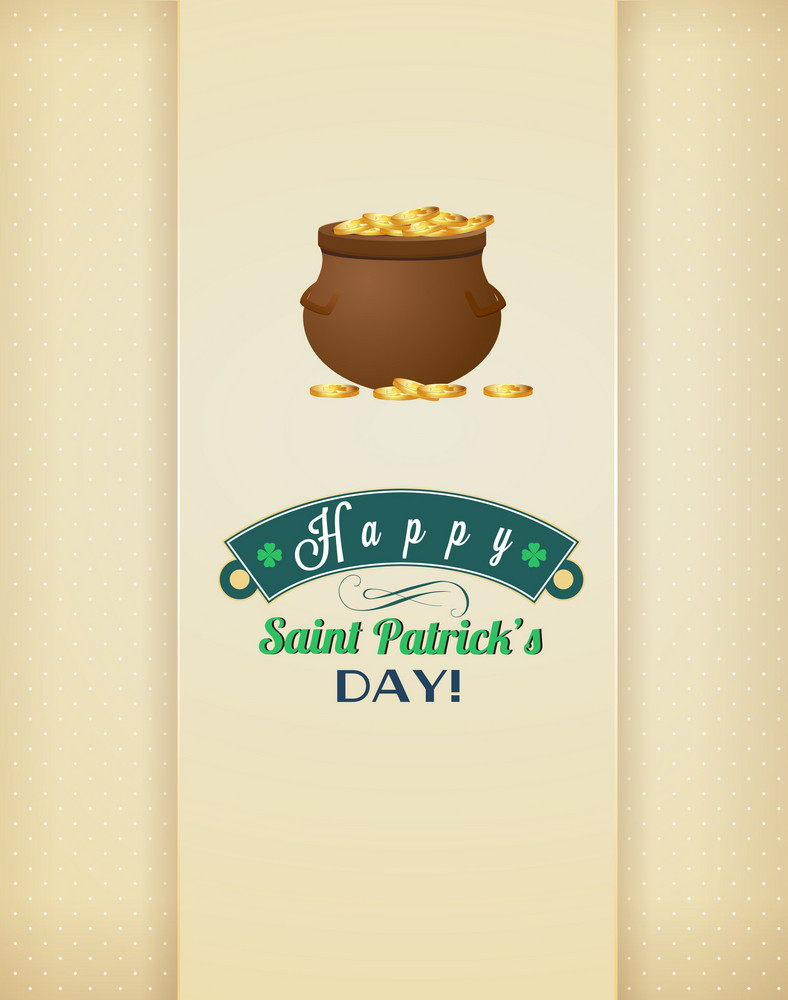 St. Patrick's Day Vector Illustration With Pot, Ribbon