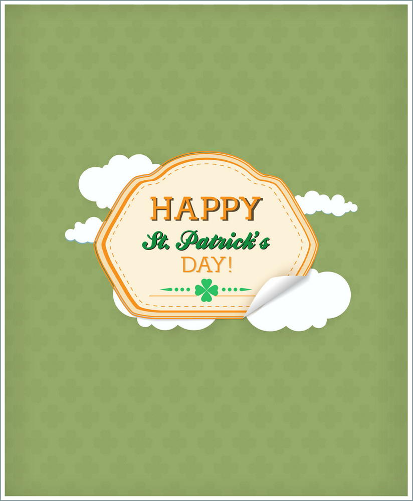 St. Patrick's Day Vector Illustration With  Sticker Badge And Clouds
