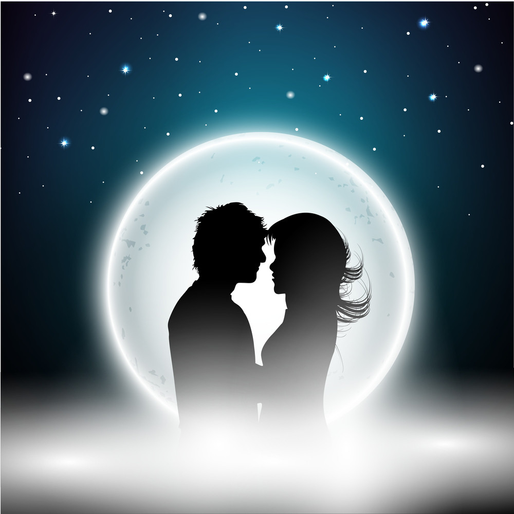 St Valentines Day Night Background With Silhouette Of Couple