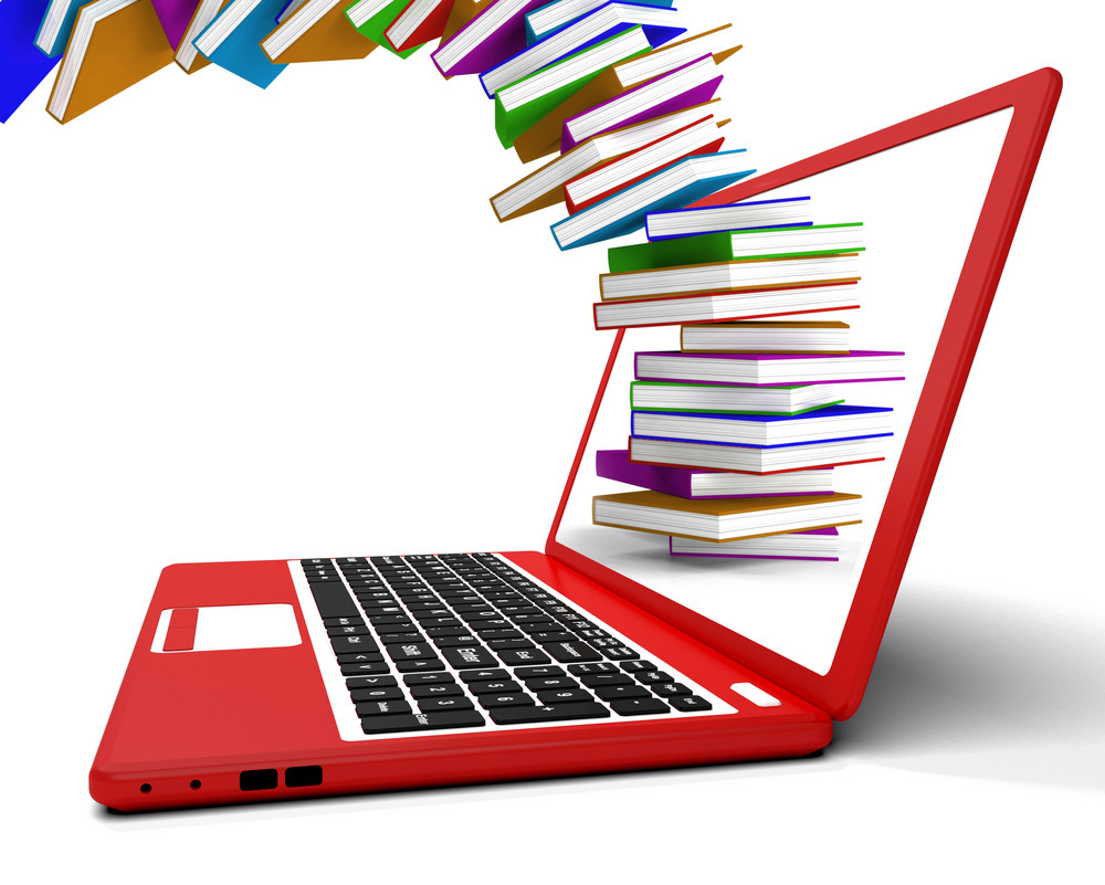 Stack Of Books Flying From Computer Shows Online Learning
