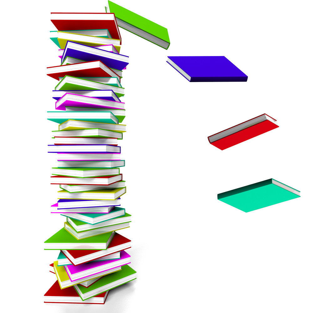 Stack Of Books With Some Falling Representing Learning And Education