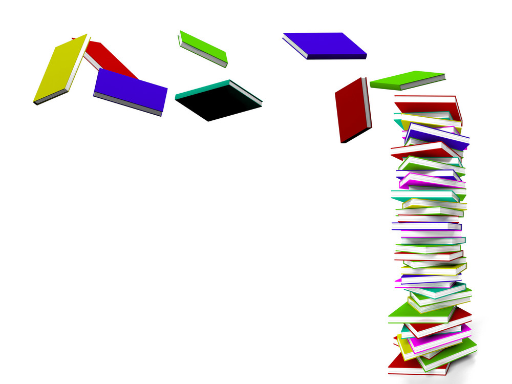 Stack Of Books With Some Flying Representing Learning And Education