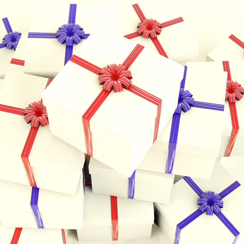 Stack Of Giftboxes As Presents For The Family And Friends
