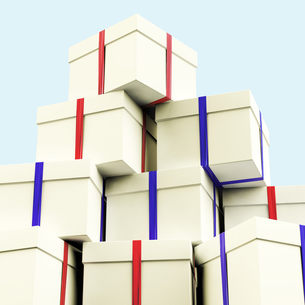 Stack Of Giftboxes With Sky Background As Presents For The Family