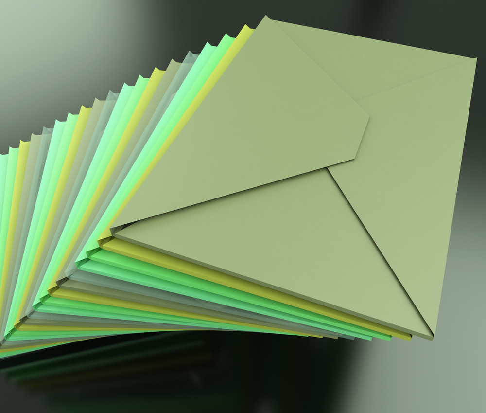 Stacked Envelopes Shows E-mail Symbol Contacting Sending